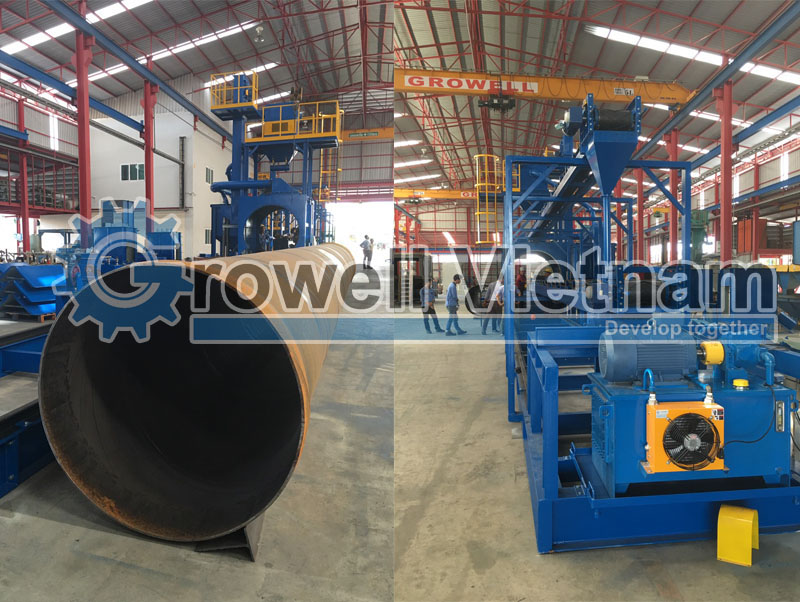 Máy phun bi làm sạch ống Growell Việt Nam