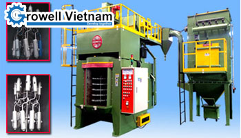 Rotary hanger shot blasting machine