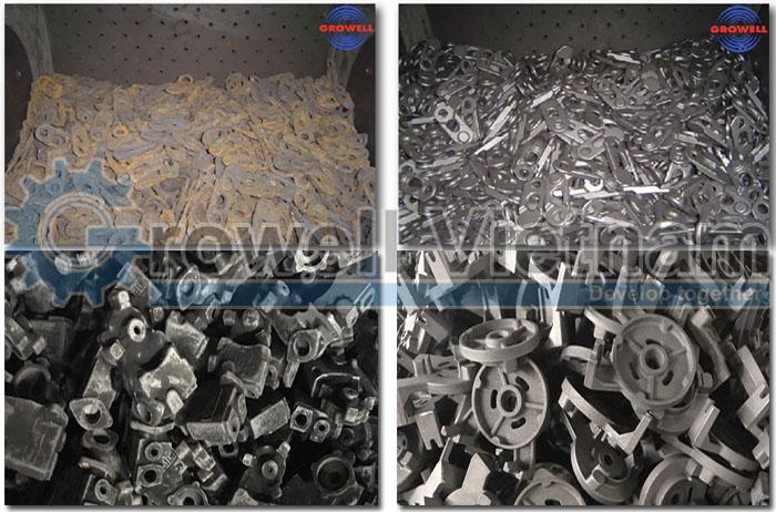 Sản phẩm trước và sau khi phu bằng máy phun bi làm sạch vật đúc