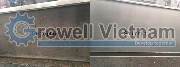 Sản phẩm trước và sau khi phun bằng máy phun bi kết cấu thép