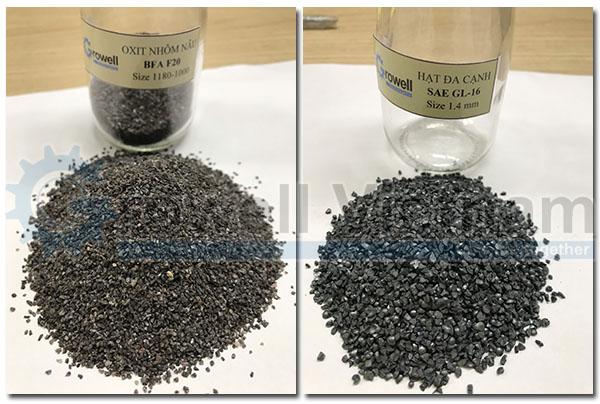 Steel grit and aluminum oxide for sandblasting