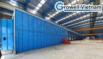 Khách hàng kết cấu thép Long An lựa chọn buồng phun bi Growell
