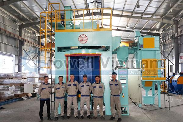 Máy phun bi làm sạch bô xe máy được lắp đặt tại Hà Nội