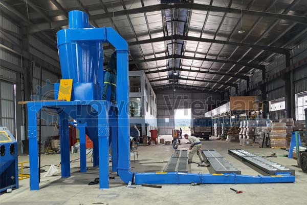 Hình ảnh lắp đặt hệ thống buồng phun bi làm sạch tại nhà máy Growell