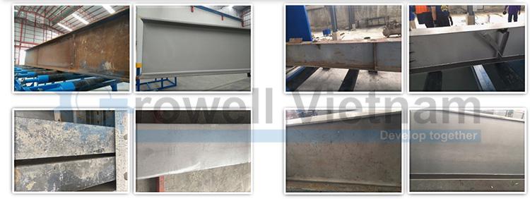 Kết cấu thép trước và sau khi làm sạch bằng máy phun bi