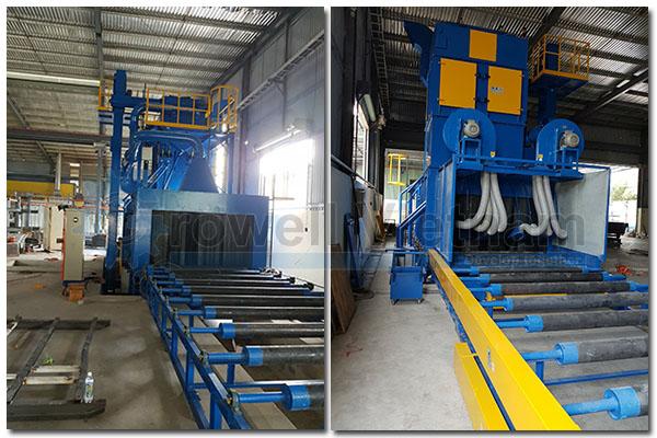 Làm sạch bề mặt thép bằng máy phun bi dạng băng tải