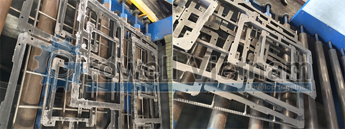 Sử dụng Máy phunbi dạng băng tải để làm sạch tay vịn cầu thang công suất lớn
