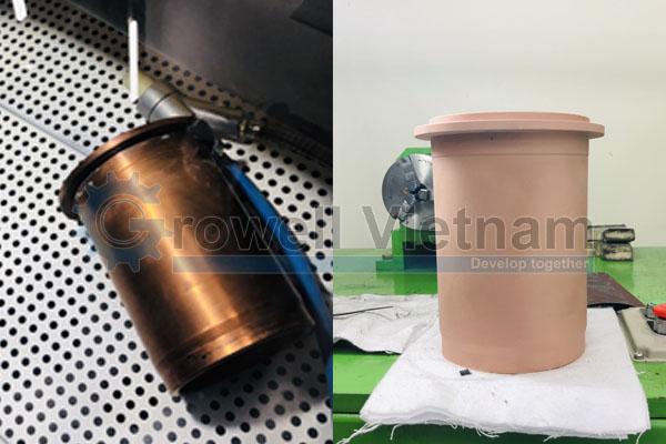 Sản phẩm trước và sau khi phun bằng Tủ bắn cát