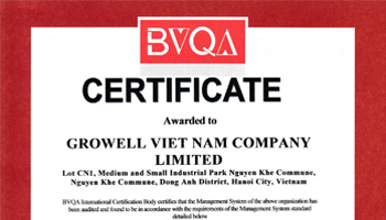 ISO 9001-2015 - GROWELL VIETNAM