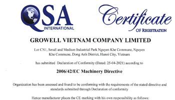 Máy phun cát - Máy phun bi Growell Việt Nam đáp ứng tiêu chuẩn CE