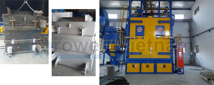 Vỏ máy biến áp trước và sau khi được xử lý bằng Máy phun bi làm sạch vỏ máy biến áp